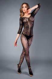 Грас. Сетка Bodystocking in net optic with crocheted ornaments black, S-L (40-46)